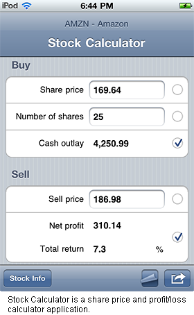 Stock Calculator is a stock trade share price and profit/loss calculator application.